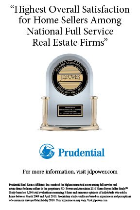 Prudential Real Estate Ranked Highest for Seller Satisfaction in J.D. Power and Associates' 2010 Home Buyer/Seller Study